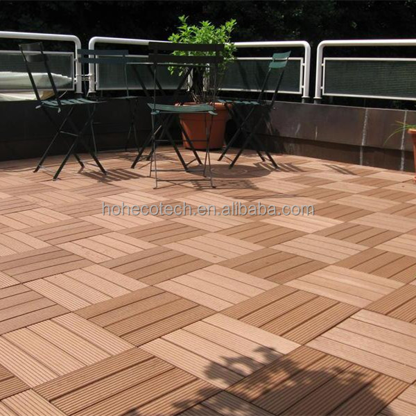 Non slip wood composite interlocking outdoor deck tiles for Garden decking non slip
