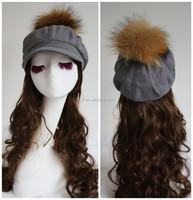 Vintage Wool Hunting Ski Hat Cap Beanie Fur Pom Pom Warm Ear Flaps Grey Plaid