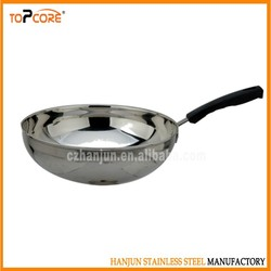 Stainless steel frying round pan for cooking