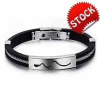 Charm Men Silicone Bangles Classical Snake Design Stainless Steel Man Bracelet