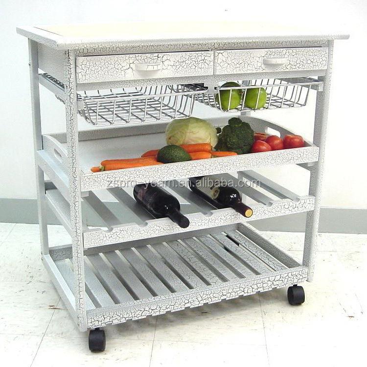 Modern Design Wooden Kitchen Serving Trolley Service Cart