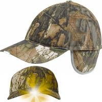 Hunting Camo Cotton LED Baseball Cap Flap Reflective short brim Hat