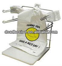 thank you smiling plastic shopping bag