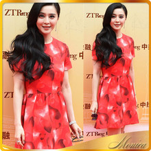 Fan Bingbing With Fashion Cultivate One's Morality Show Thin Peach Heart Print Dress With Short Sleeves Women Clothing