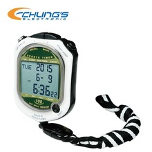 Electronic stopwatch with time display in 12/24 hour format