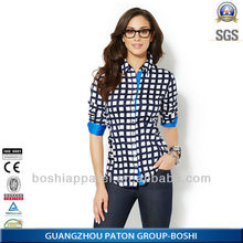 100%Cotton Blouse Long Sleeves of Ladies Casual Shirt with Competitive price