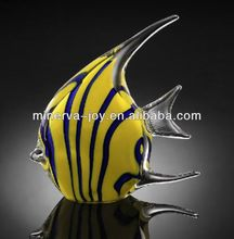 Yellow and blue Tropical fish Glass Crafts /Crystal gift/ Handmade blowln