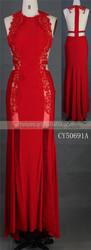 Sexy maxi red knitting fabric satin evening dress party girl dress