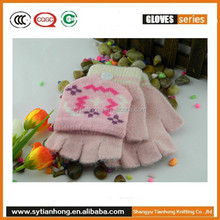 Snowflake kid jacquard half mittens and gloves