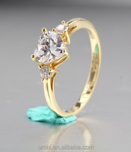 Heart Shape Promise Ring White CZ Ring, Gold Plated 925 Stamped Sterling Silver Three Stone Ring JSR003