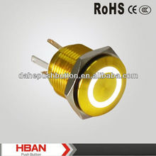 CE ROHS IP65 golden-plated 16mm Waterproof ring illuminated metal push button switch