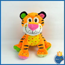 popular design 28cm safe material cartoon style stuffed tiger plush coloful tiger for kids