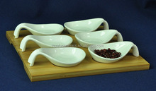 White Ceramic Serving Dish, High Quality Porcelain Snack Dish in spoon shape , Unique Porcelain Appetizer dish with bamboo tray