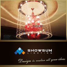 Red Chandelier Dressed With Crystals
