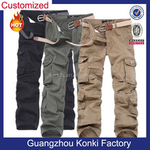 Different color fabric multi pocket cargo pants for men