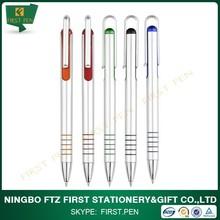 Silver Lacquer Finish Plastic Ballpoint Pen