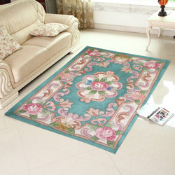 popular blue flower wool carpet rug hand tufted
