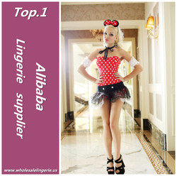 New style sexy hot red plain polk dot tops tutu skirt Polyeste/spandex adult mini mouse costume