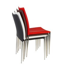Durable chrome steel dinning chair, leather dinning chair China manufacturer