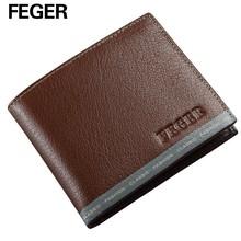 Cheap Leather Men Wallets Brown Business Purse Wholesale