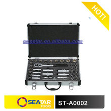 "star tools factory -3/8"" square driver CR.V steel forged chrome plated 38 pcs socket set hand tools aluminum case"