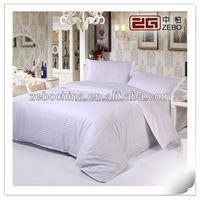 100% Cotton 400TC Pure White Stripe Fabric Luxury Royal Hotel Bedding