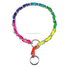 Rainbow Color Dog Choke Chain Collar