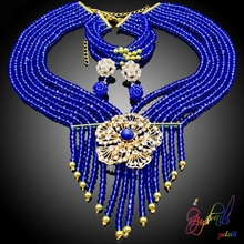 Lady cherish dark Blue beads jewelry set banquet prevai bridal jewelry set gold plated flower jewelry set