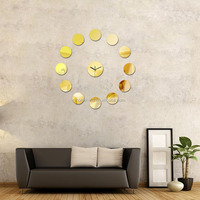 Circle Surface Mirror Wall Clocks Round Shaped DIY Acrylic Mirror Watch Wall Clock Home Decor