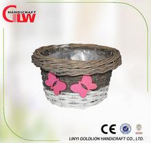 Cartoon garden plant pot with plastic lining,home decor handmade flower pot