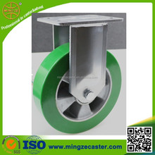 Green Elastic polyurethane wheels heavy duty fixed castor for trolley