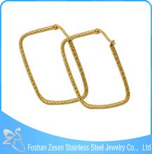 ZS17075 stainless steel gold earrings maker wholesale big square hoop earring
