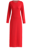 Dresses fashion women girl clothes Red Long Sleeve Split Ankle Length Dress