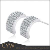 CYW china wholesale wihte Color CZ 925 Sterling Silver Stud Earrings