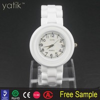 Lady's sea shell dial timepiece small wrist art craft ceramic watch wholesale