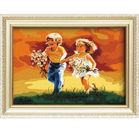2015 sexing girl and boy children run on the grassland diy funny oil painting