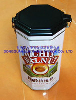 round shape tin box with hinged lid