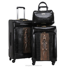 Good quality hot selling leather travel carry on trolley luggage bags