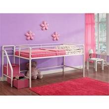 Cheap Junior Metal Frame Kids Loft Bed with Stairs and Storage Steps, Pink and White