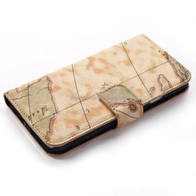 Factory OEM pu leather case cover for samsung World map plastic mobile phone shell for samsung galaxy S5
