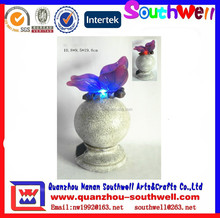 2015 new custom design resin butterfly stand round resin ball solar led garden decoration