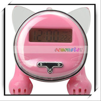 Cute Funny Voice Timekeeping Chinese Animal Shaped Cat Cheap Alarm Clock Pink