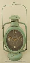 Antique blue metal oil lamp shaped desk clock for wholesale