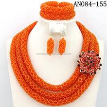 China fashion women jewelry glass beads for nigerian wedding beads set necklace wholesale