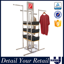 Free standing stainless steel 4 arm t shirt rotating display