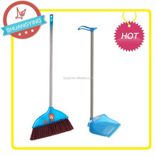 SY3607+SY3706 Plastic Broom&dustpan sets with S/S pipe Happy lambkin broom decorated and pig dustpan byPP material Cleaning set,