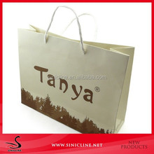 Sinicline free design unique foldable shopping paper bag with double handles