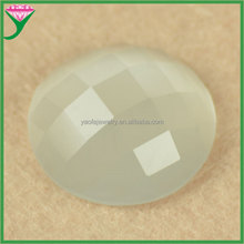 HS-16 high quality white round shape flat bottom cutting surface synthetic big glass cat eye gem