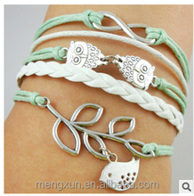 European and American fashion origin yiwu branch Birds Unlimited Owl Romance Friendship Bracelet
