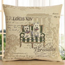 2015 new animal design cute dog pattern jacquare cushion cover handmade pillow made in China